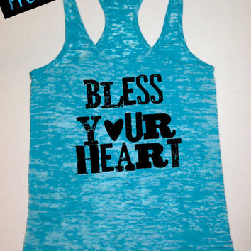 Tank Top of the Month. Bless your Heart. Southern Girl Tank. Country Tank Top. Country Girl Clothing. Southern Clothing. Free Shipping USA