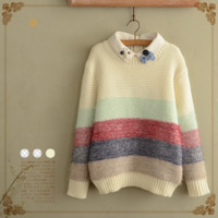 Japanese students stripe knitting sweater