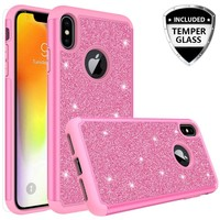 Apple iPhone XS Max Case, Apple A1921 Glitter Bling Heavy Duty Shock Proof Hybrid Case with [HD Screen Protector] Dual Layer Protective Phone Case Cover for Apple iPhone XS Max W/Temper Glass - Hot Pink