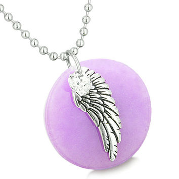 Angel Wing Amethyst Medallion White Crystals Heart Feather 18 Inch Pendant Necklace