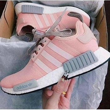 """Adidas"" NMD Trending Women Men Leisure Sports Shoes Sneakers Pink Grey I"