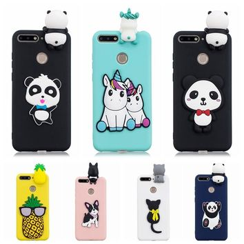 Honor 7C Phone Case on Honor 7C Pro Cartoon 3D Unicorn Panda Silicone Case for Fundas Huawei Honor 7C AUM-L41 Cover Case women