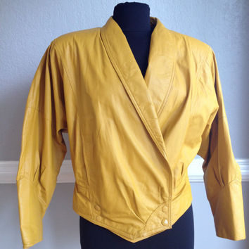 80s 100% Leather Mustard Yellow / Gold Jacket  Size M - Dolman Sleeve