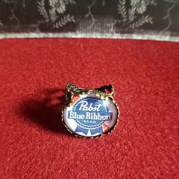 Pabst Blue Ribbon Beer Adjustable Antique Bronze Ring