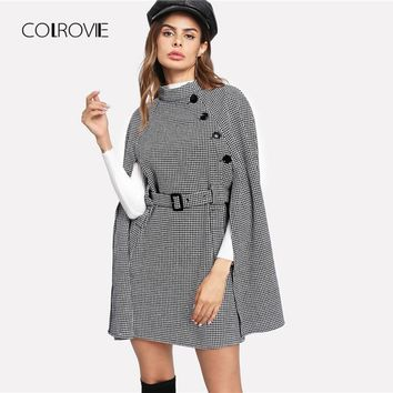 COLROVIE Black Vintage Plaid Self Belted Houndstooth Cape Wool Blend Women Coat 2018 Autumn Cloak Sleeve Winter Female Outerwear
