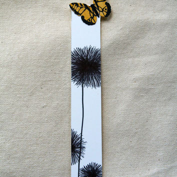 Handmade Bookmark Yellow Butterfly and Flower Silhouette - Easter