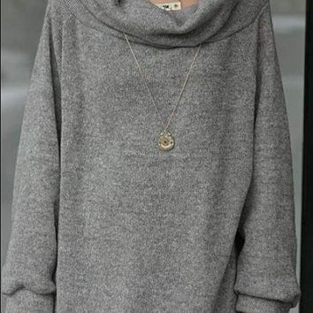 Grey Cowl Neck Casual Office Worker/Daily Pullover Sweatshirt