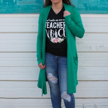 Kelly Green Modal Duster with Pockets