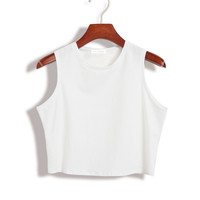 Plain Sleeveless Crop Tank Tee