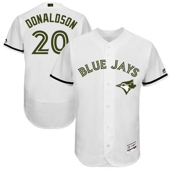 Men's Toronto Blue Jays Josh Donaldson Majestic White 2017 Memorial Day Authentic Collection Flex Base Player Jersey