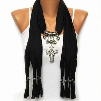 CHRISTMAS SALE black solid color jewelry scarf with rhinestone cross big pendant, Christmas gift, Birthday gift or for you