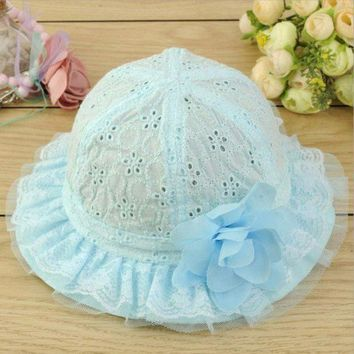 LMF78W Baby Newborn Breathable Lace Floral Summer Beach Bucket Flower Sun Hat