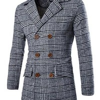 jeansian Men's Fashion Double Breasted Plaid Jacket Coat Outwear Tops 9345