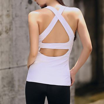 Yoga Cross Back Bandage Women Sleeveless Backless Running Sports T Shirts Quick Dry Jogging Gym Fitness Tank Top Sportswear