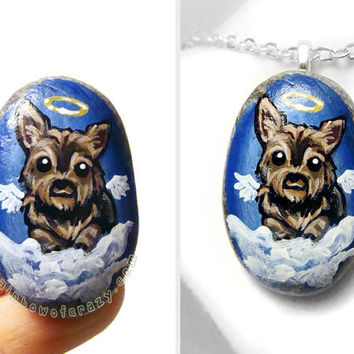 Yorkie Necklace, Angel Dog Jewelry, Yorkshire Terrier, Pet Portrait Pendant, Memorial Gift, Hand Painted Rock Art