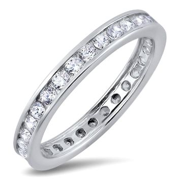 Choose Color Womens Eternity Band Rhodium Plated Sterling Silver Stackable Eternity Band Ring 3mm