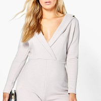 Plus Josie Wrap Front Playsuit | Boohoo