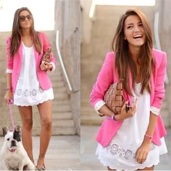 2017 Women Blazer Jacket New Spring Slim Top Elegant Short Design Blazer Women Work Wear Candy Colors Blazers