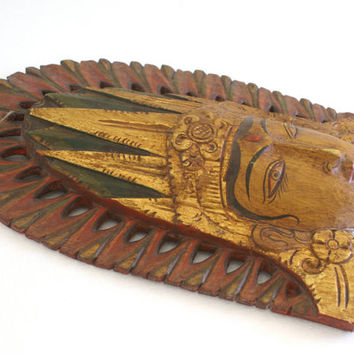 Indonesia Wooden Mask Carved Wall Hanging