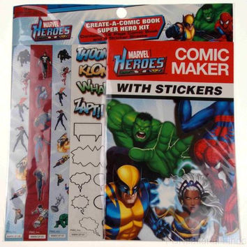 Lot 12 Marvel Heroes Comic Maker Stickers Create Book Super Hero Kit Party Favor