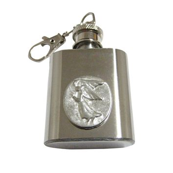 Oval Angel Pendant 1 Oz. Stainless Steel Key Chain Flask