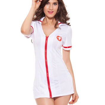 Zippered Hit Color Nurse Cosplay Costume