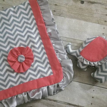 Baby girl minky blanket - chevron gray coral ruffle elephant gift set - chevron coral baby crib blanket bedding nursery decor