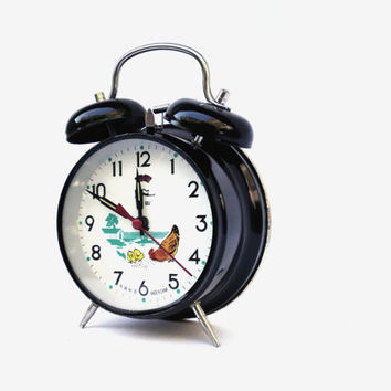 Vintage black mechanical alarm clock Fusheng Fei Lu clock retro clock mid century alarm clock home decor wind up alarm gifts Under 50