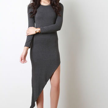 Asymmetrical Jersey Knit Long Sleeve Dress