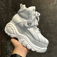 Hermes Newest Popular Woman Personality Thick Sole Sneakers Sport Shoes White I-OMDP-GD