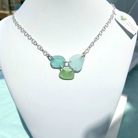 Real Sea Glass Necklace In Blue And Sea Foam Seaglass