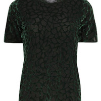 Tall Green Abstract Devore Tee
