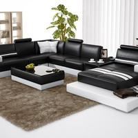 Large Unique Leather Sectional With Table - Opulentitems.com