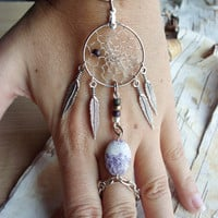 Purple Bohemian Dreamcatcher Slave Bracelet Boho Hippie Stone Tribal Gypsy Silver Purple Twilight Dream Catcher Native American Inspired