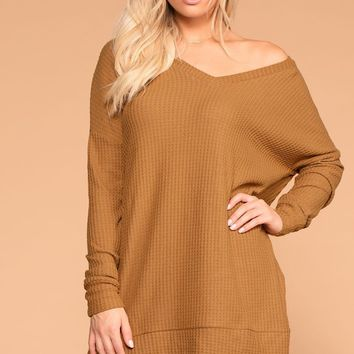 Stay True Coffee V-Neck Waffle Knit Sweater Top