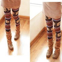 Knitted Colorful Crystal Pattern Leggings Tights Pants 1972 (Color: Multicolor) = 1655764036