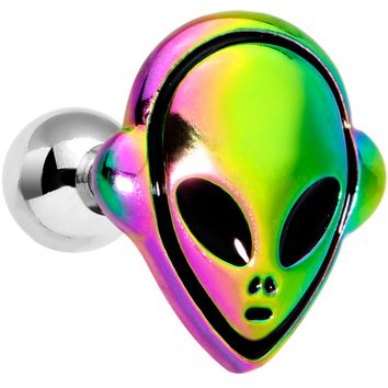 "16 Gauge 1/4"" Iridescent Creepy Space Alien Cartilage Tragus Earring"