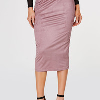 Long Run Suede Midi Skirt