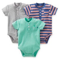 Mighty Cute 3-Pack Short-Sleeve Henley Bodysuits