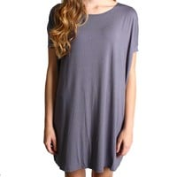 Charcoal Grey Piko Tunic Short Sleeve Dress