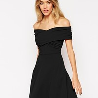 ASOS Bardot Skater Dress with Cross Front and Ruched Detail