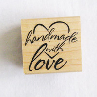 Handmade with Love Craft Rubber Stamp Recollections Stamp Wood Block Mounted Calligraphy Heart Stamp Scrapbooking Craft Supply DIY Supply
