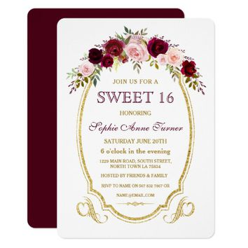 Chic Burgundy Marsala Floral Fall SWEET 16 Card
