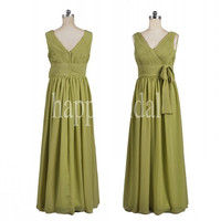 Long Grass Green Bridesmaid Dresses Plus Size Prom Dresses Party Dresses 2014 Wedding Occasions