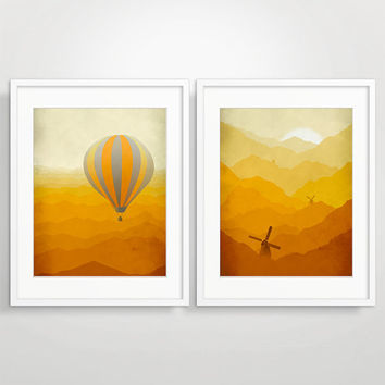 SALE Set of Nursery Prints, Nursery Decor, Kids Wall Art, Hot Air Ballon, Windmills