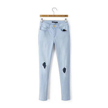 Sky Blue Hole Ripped Button Fly Ankle-Length Jeans