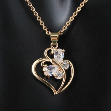 New Design Necklace & Pendant 18K Gold Plated Chain Long Necklace Hollow Heart Zircon Pendant Necklace For Women Free Shipping