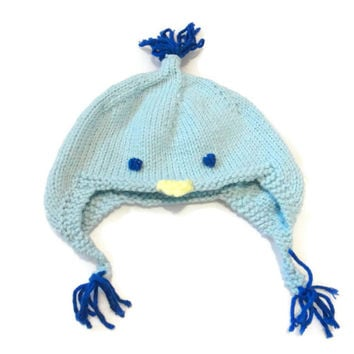 Baby Chick Hat, Duck Hat, Knit Blue Animal Earflap, 0-12 months