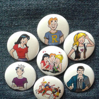 "Archie Comics button set 1"" pinback Jughead Riverdale Betty Veronica"
