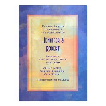 Blue Abstract Squares Design Casual Wedding 5x7 Paper Invitation Card